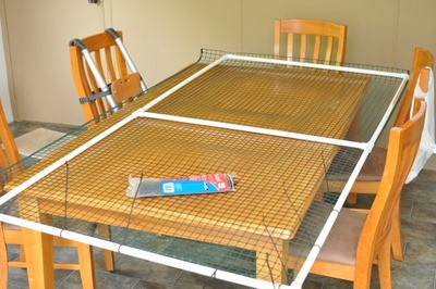 Attach mesh to frame on a table